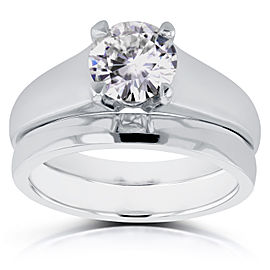 Classic Round Diamond Solitaire Bridal Set 1 Carat in 14k White Gold