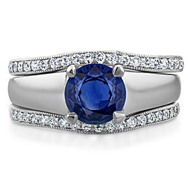 Sapphire Solitaire and Diamond Double Bands 3-Piece Set 1 1/2 CTW in 14k White Gold