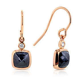 Cushion Black and White Diamond Earrings 2 3/4 CTW in 14k Rose Gold