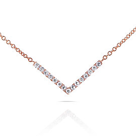 "BCA Round Diamond Chevron V Necklace in 14k Rose Gold (16"" Chain)"