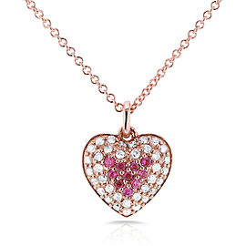 "BCA Pink Sapphire & Diamond Heart Necklace 1/4 CTW in 14k Rose Gold (16"" Chain)"