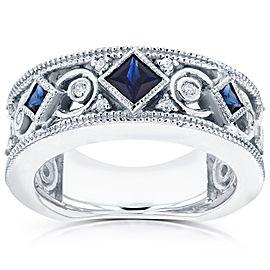 Diamond and Blue Sapphire Milgrain Band 1/2 CTW in 14k White Gold - 11.0