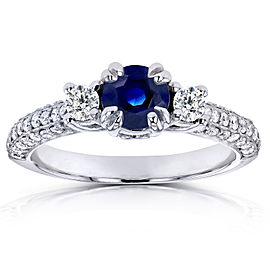 14k White Gold Three-Stone Sapphire and Diamond Pave Engagement Ring 1 CTW - 9.5