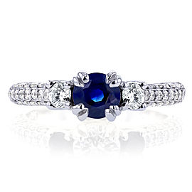 14k White Gold Three-Stone Sapphire and Diamond Pave Engagement Ring 1 CTW - 11.0