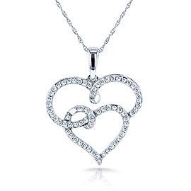 "Round Diamond Double Interlocking Hearts Necklace 1/3 Carat (ctw) in 10k White Gold (18"" Chain)"