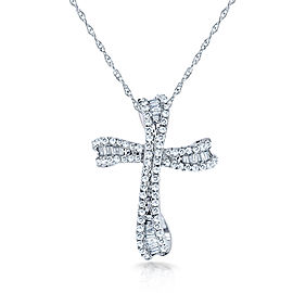"""Round & Baguette Cut Diamond Cross Necklace 1/3 Carat (ctw) in 10k White Gold (18"""" Chain)"""