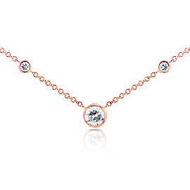 3 Diamond Bezel Necklace 1/4 CTW in 14K Rose Gold