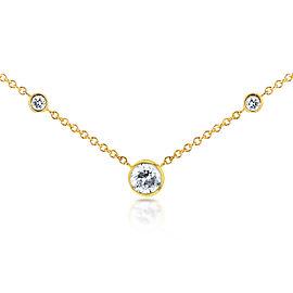 3 Diamond Bezel Necklace 1/4 CTW in 14K Yellow Gold