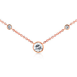 3 Diamond Bezel Necklace 1/3 CTW in 14K Rose Gold
