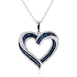 Blue Diamond Heart Pendant 10k White Gold
