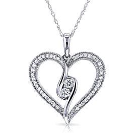 Two Stone Diamond Milgrain Heart Pendant 1/4 CTW in 10K White Gold