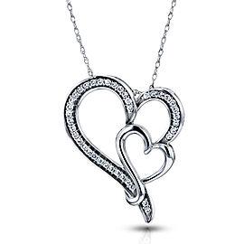 Diamond Double Heart Pendant 1/5 CTW in 10K White Gold