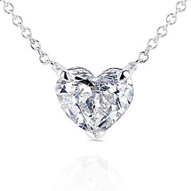 Floating Heart Diamond Necklace 1 CTW in 14K White Gold (Certified)