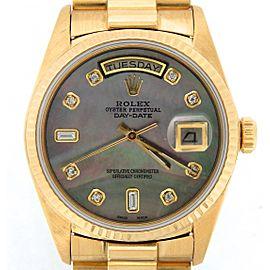 Mens Rolex 18K Day-Date President Black MOP Diamond 18038