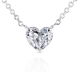 Floating Heart Diamond Necklace 1/2 CTW in 14K White Gold (Certified)