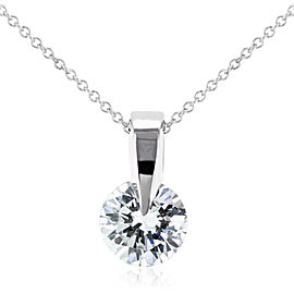 "Floating Diamond Solitaire Necklace 1/2 Carat in 14k White Gold (16"" Chain)"
