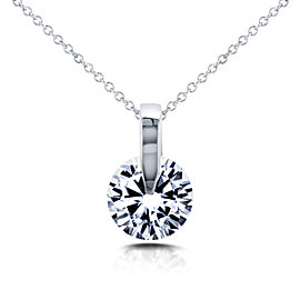 Floating Round Diamond Solitaire Necklace 1 CTW in 14k White Gold