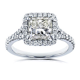 Certified 2 4/5 Carat TW Princess Diamond Halo Engagement Ring in 18k White Gold