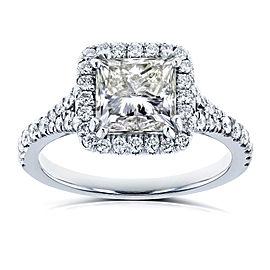 Certified 2 4/5 Carat TW Princess Diamond Halo Engagement Ring in 18k White Gold