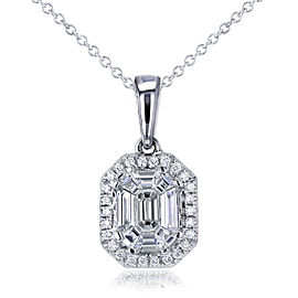 Art Deco Emerald Diamond Necklace 1/2 CTW in 14K White Gold