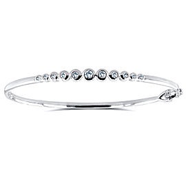 Bezel-Set Diamond Bangle 1/2 ctw in 10k White Gold