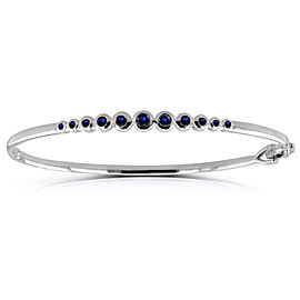 Bezel-Set Blue Sapphire Bangle 3/4 ctw in 10k White Gold