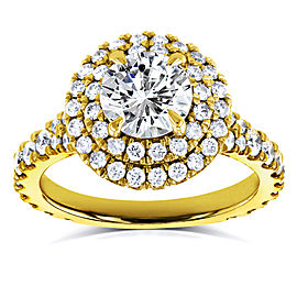 Domed Cluster Diamond Double Halo Ring 2 1/10 Carat TDW in 14k Yellow Gold