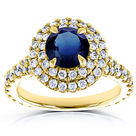 Domed Cluster Blue Sapphire and Diamond Double Halo Ring 2 1/3 Carat TGW in 14k Yellow Gold