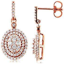 Diamond Dangle Oval Halo Earrings 1/2 CTW in 10K Rose Gold