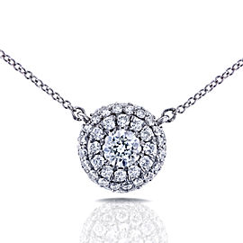"""Round Diamond Cluster Necklace 7/8 CTW in 14K White Gold (16"""" Cable Gold Chain)"""