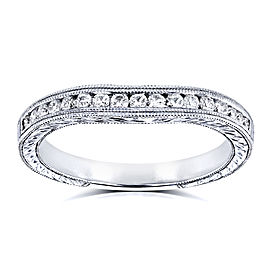 Diamond Contoured Wedding Band Vintage Engravings 1/5ct TDW in 14k White Gold