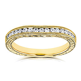 Diamond Contoured Wedding Band Vintage Engravings 1/5ct TDW in 14k Yellow Gold