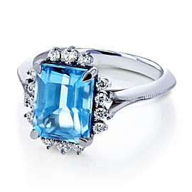 Emerald Blue Topaz and White Diamond Ring 1/5ct TDW in 14k White Gold