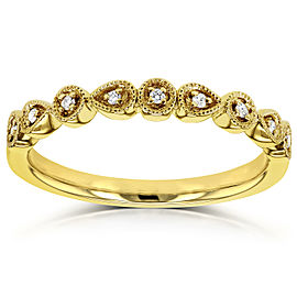 Diamond Accented Milgrain Ring in 10k Yellow Gold