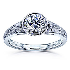 Round Diamond Bezel Vintage Engagement Ring 1 CTW in 14k White Gold