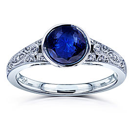 Round Blue Sapphire and Diamond Bezel Vintage Engagement Ring 1 CTW in 14k White Gold