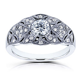 Bezel Diamond Center Vintage Ring 5/8 CTW in 14k White Gold