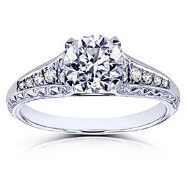 Round Diamond Vintage Engagement Ring 1 1/10 CTW in 14k White Gold