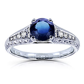 Round Sapphire and Diamond Vintage Engagement Ring 1 1/10 CTW in 14k White Gold
