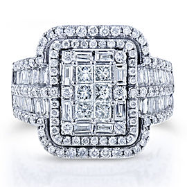 Diamond Cluster Rectangular Frame Engagement Ring 2 CTW in 14k White Gold
