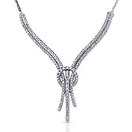 Diamond Open Loop Knot Stringy Flat Wheat Chain Anti-Tangle Necklace 3/4 Carat CTW in 10k White Gold
