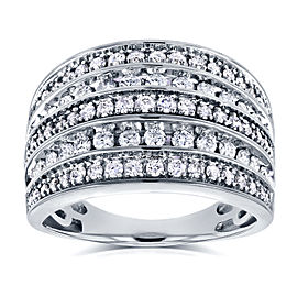 Diamond Anniversary Ring Wide Multi-Row Band 1ct TDW 10k White Gold