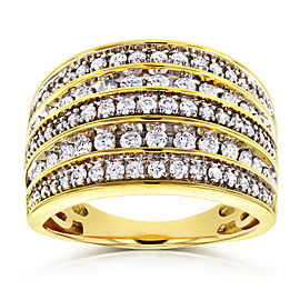 Diamond Anniversary Ring Wide Multi-Row Band 1ct TDW 10k Yellow Gold