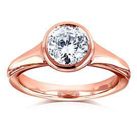 Round Solitaire Bezel 1 Carat Diamond Ring in 14k Rose Gold