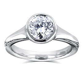 Round Solitaire Bezel 1 Carat Diamond Ring in 14k White Gold
