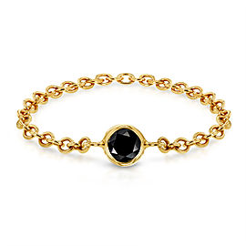 Black Diamond Chain Ring 1/10 CTW in 14k Yellow Gold