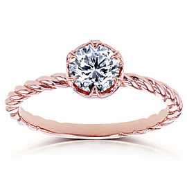 Diamond Twisted Solitaire Ring 1/2 CTW in 14k Rose Gold