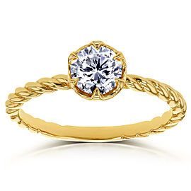 Diamond Twisted Solitaire Ring 1/2 CTW in 14k Yellow Gold