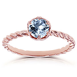 Aquamarine Twisted Solitaire Ring 1/2 CTW in 14k Rose Gold