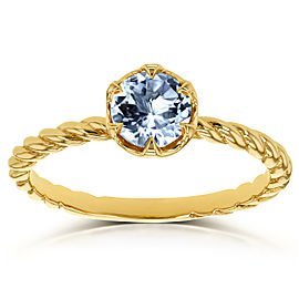 Aquamarine Twisted Solitaire Ring 1/2 CTW in 14k Yellow Gold